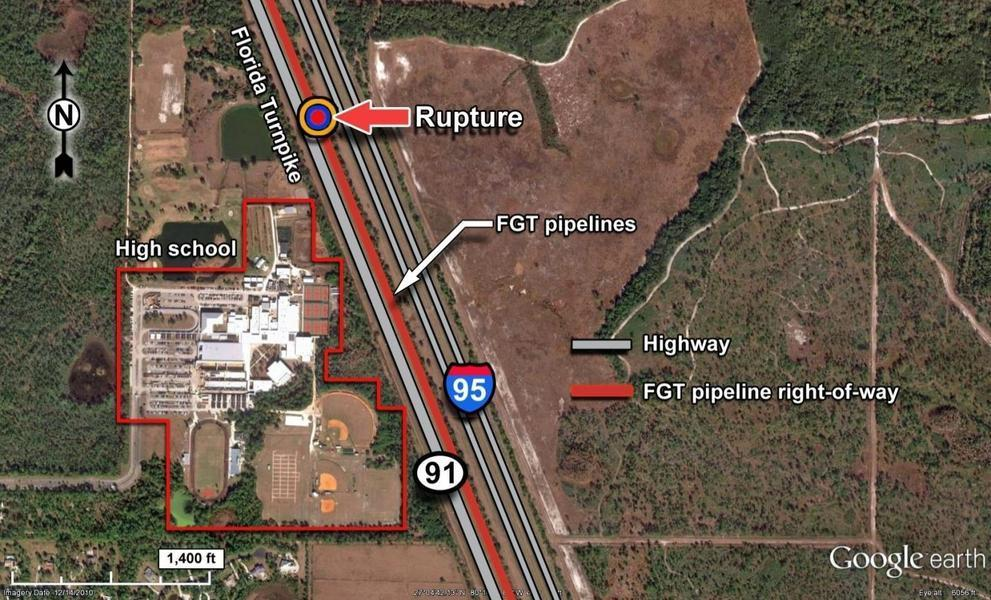 NTSB: Location next to I-95 and high school, in Rupture of Florida Gas Transmission Pipeline and Release of Natural Gas 20090504